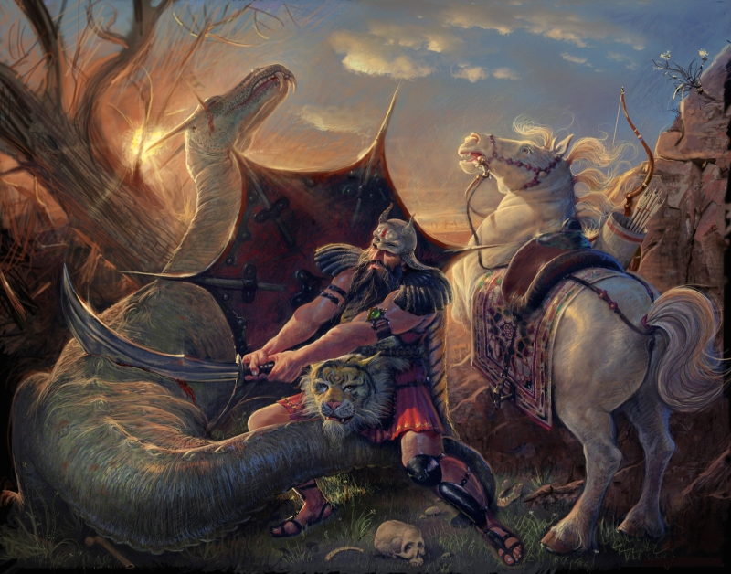 Rostam_slaying_the_Dragon_by_Adel_Adili.jpg